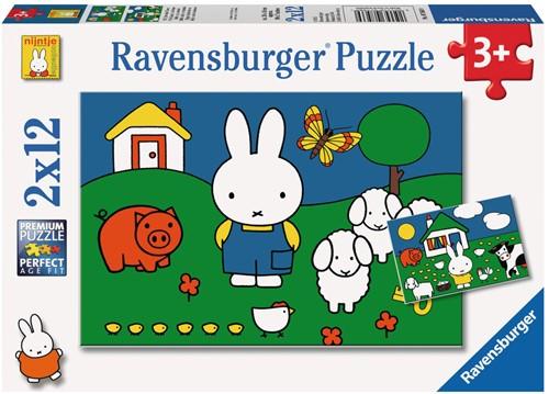 Ravensbuger Puzzel 2 x 12 stukjes NIJ: nijntje bij de dieren