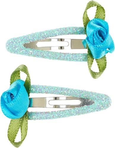 Souza Haarclip Periwinkle bloem, blauw-mint (2 stuks/kaart, 1 kaart)
