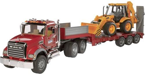 BRUDER MACK Granite Low loader and JCB 4CX toy vehicle