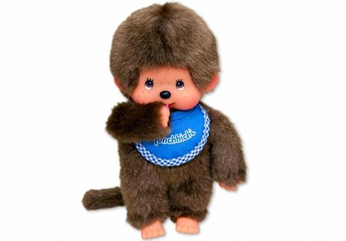 Monchhichi knuffelpop Jongen met slab Blauw - 20 cm