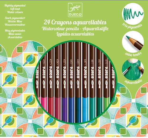 Djeco 24 crayons aquarellables