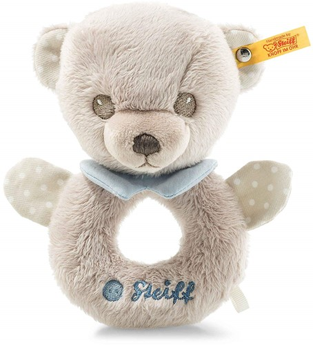 Steiff Hello Baby Levi Teddy bear grip toy with rattle in gift box
