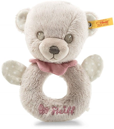 Steiff Hello Baby Lea Teddy bear grip toy with rattle in gift box