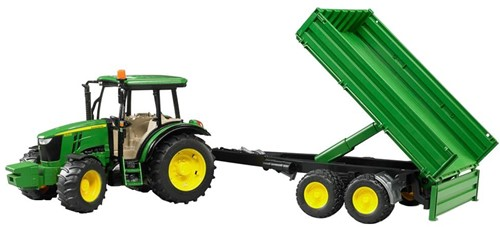 BRUDER John Deere 5115 M with tipping trailer toy vehicle