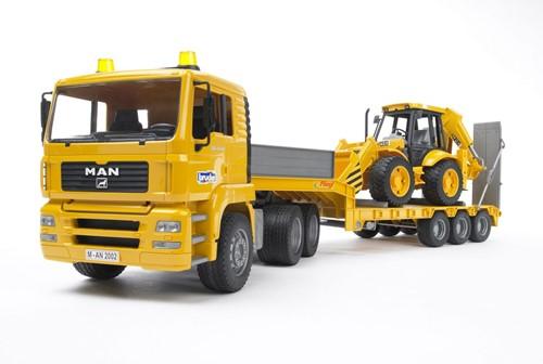 BRUDER MAN TGA Low loader truck with JCB Backhoe loader toy vehicle