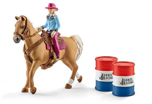 Schleich Farm Life Barrel racing with cowgirl