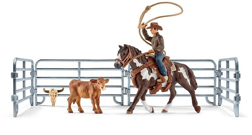 Schleich Farm Life Team roping with cowboy