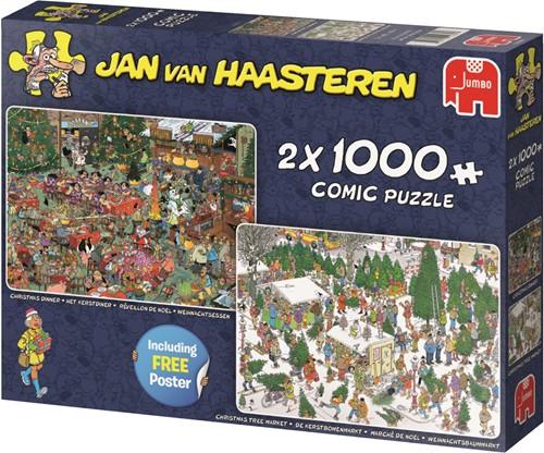 Jumbo puzzel Jan van Haasteren Kerstcadeautjes 2in1 - 2x1000 stukjes