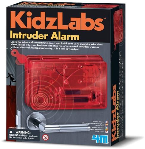 4MKidzLabs:SPYSCIENCE/ALARM,bevat1plasticplatform,plasticonderdelen enmetalenpinnen,electrischezoemer,electrischebedradingenuitgebreide instructies, werkt op 2x1.5V AAA batterijen (