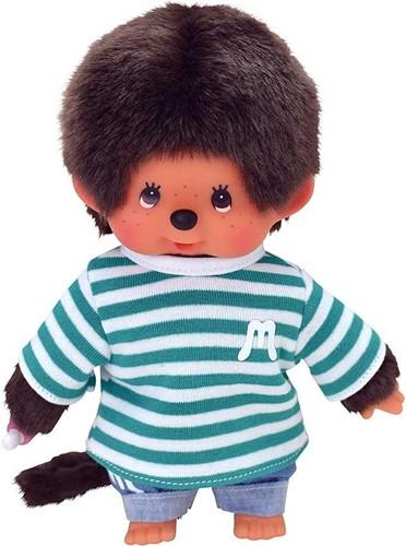 Monchhichi knuffelpop kleren Spijkerbroek met Groen Wit Gestreept shirt