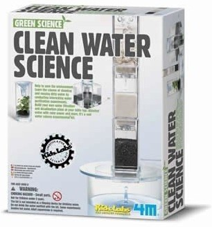 4MKidzlabsGREENSCIENCE:WATERFILTER,bevateenplasticfiltersysteem, carbon,zand,stenen,filterpapierengedetailleerdeinstructies,doos 17x22x6cm,8+