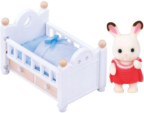 Sylvanian Families Chocolate Rabbit Baby Set (Baby Bed)