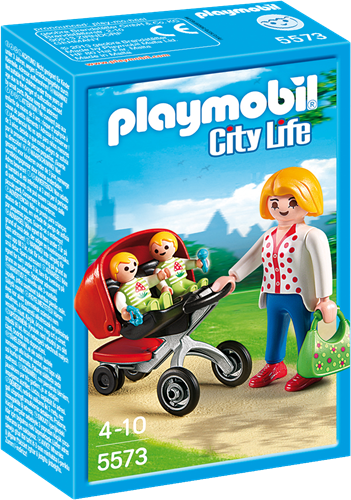 Playmobil City Life Mother with Twin Stroller building figure