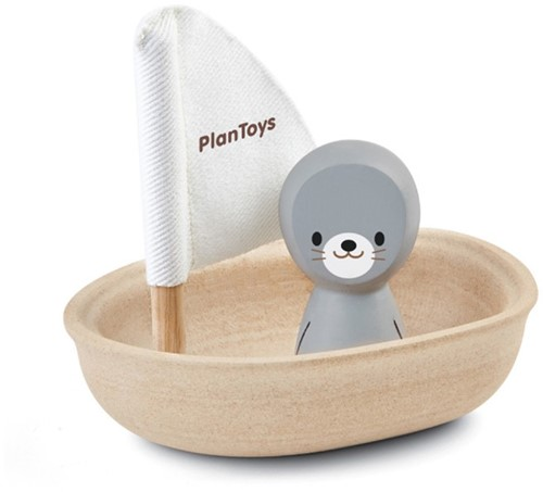 PlanToys Sailing Boat-seal Bath boat Wood