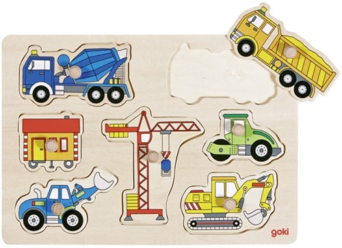 Goki Lift out puzzle, building site vehicles