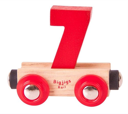 BigJigs Rail Name Number 7 , Cijferwagon 7