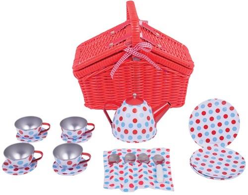 Bigjigs Spotted Basket Tea Set