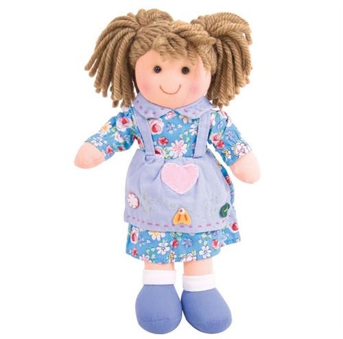 Bigjigs Grace - Brown Hair/Blue Heart Dress