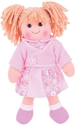Bigjigs Abigail - Blonde Hair/Pink Flower & Stripe Dress