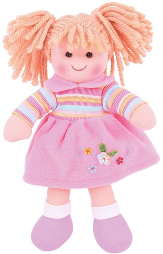 Bigjigs Jenny - Blonde Hair/ Pink Dress & Stripey Top