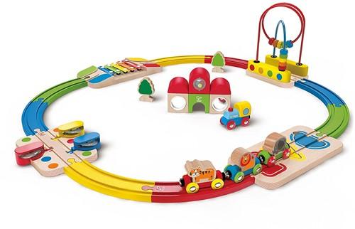 Hape Rainbow Route Railway & Station Set
