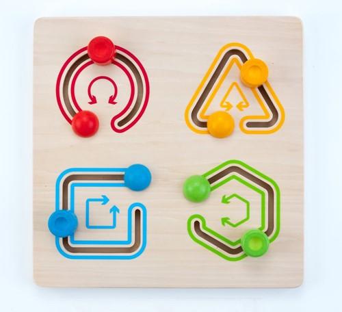 Engelhart educatief Schuifpuzzel geometrisch 4 vormen multiplex/rubberhout