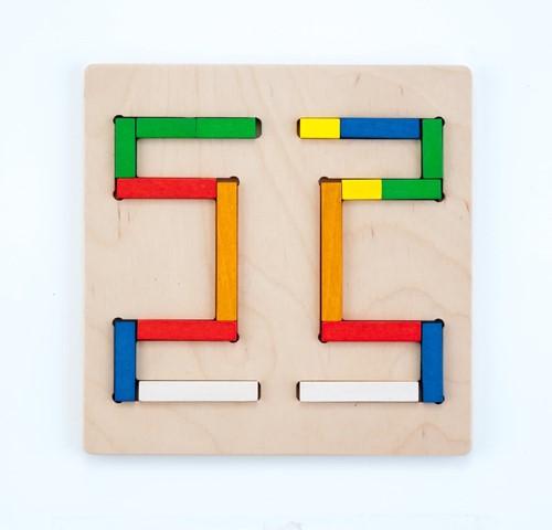 Engelhart educatief Vormenpuzzel staafjes multiplex/rubberhout