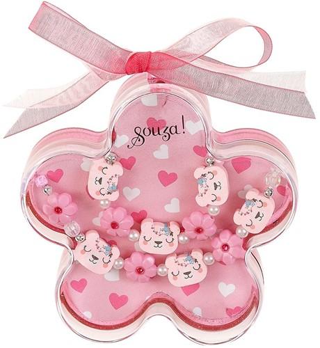 Souza Ketting + Armband in geschenkverpakking, Riky, roze, volledig elastisch (1 set/doos, 6 doosjes)