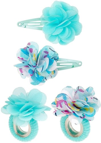 Souza - Sieraden - Hair clips Carena, with flower and plain, blue