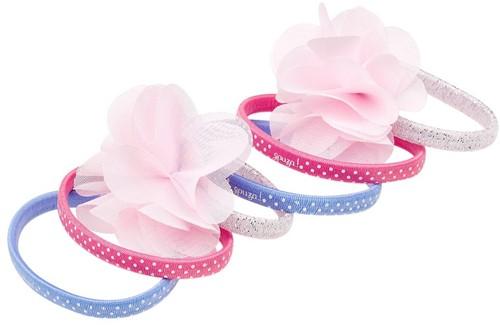 Souza Haar elastiek Pammy, print+uni+bloem, blauw+roze