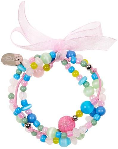 Souza Armband Milou, 3 strengen pastel-blauw-roze