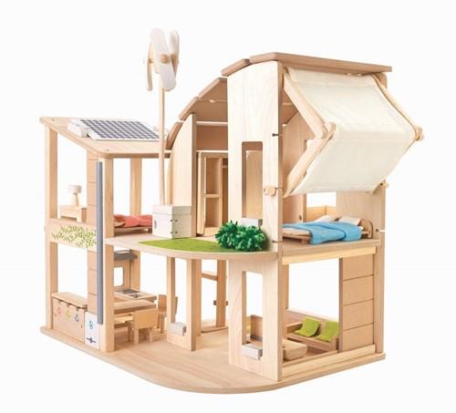 Plan Toys Groen Poppenhuis met Toebehoren