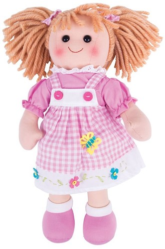 Bigjigs Ava - Blonde Hair / Pink Butterfly Gingham Dress