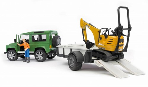 BRUDER Land Rover Defender with trailer, CAT and man toy vehicle