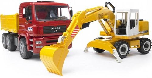 BRUDER MAN TGA Construction truck with Liebherr Excavator toy vehicle