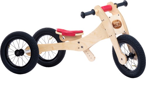 Trybike wooden balance bike 4-in-1 Red