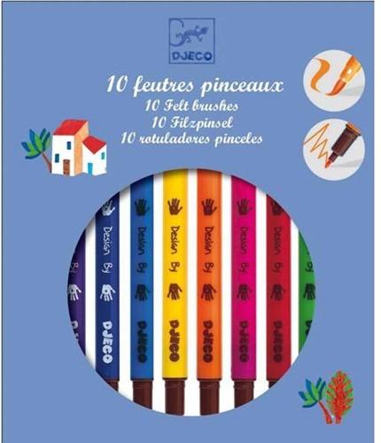 DJECO 10 felt brushes- classic - 19 x 16,5 x 1,5 cm