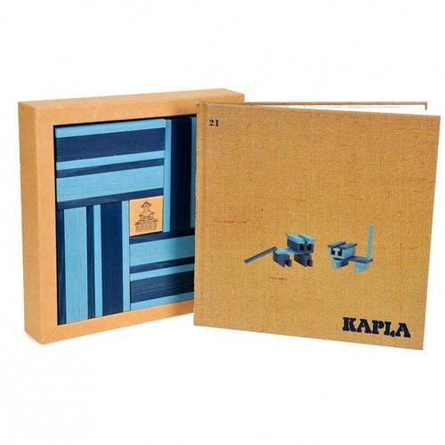 Kapla  houten bouwplankjes 40 Plankjes licht/ donkerblauw