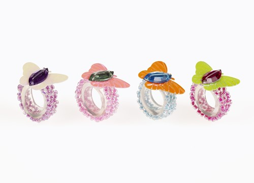 Souza Ring Morgane, volledig elastisch, wit+roze+oranje+groen (4x6 stuks)
